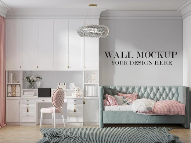 インテリアに新しいクラシックな家具を備えた壁のモックアップ素晴らしい10代のベッドルーム