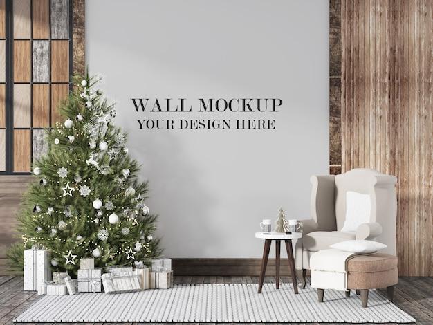 クリスマスイブのスカンジナビアのインテリアの壁のモックアップ