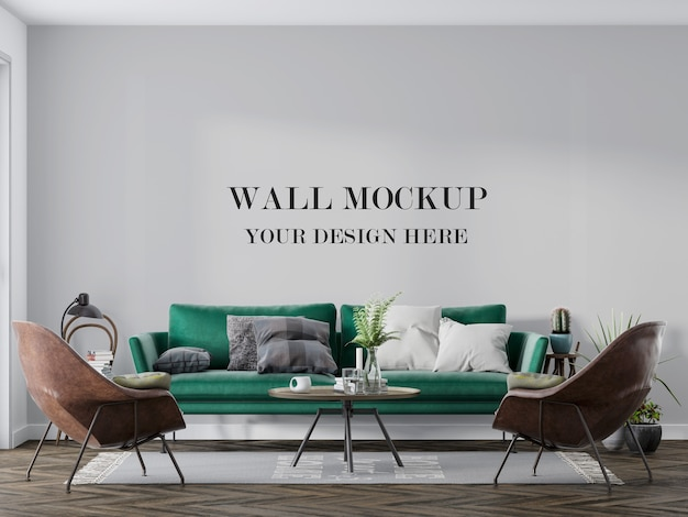 Wall mockup behind green sofa and chiars
