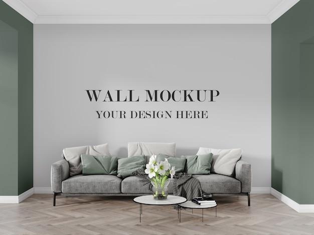 Wall mockup between green walls, behind modern sofa 3d render
