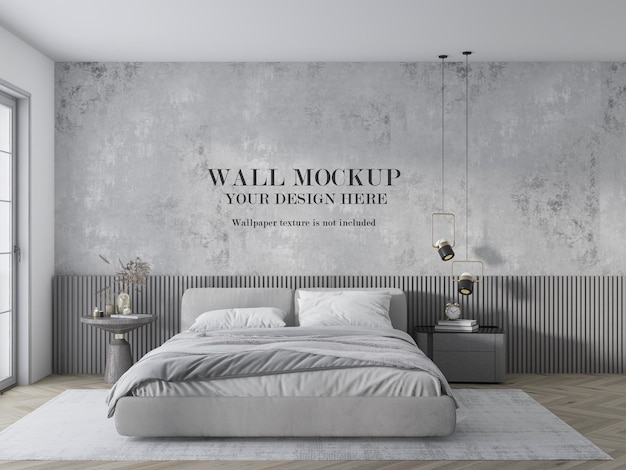 Wall mockup for grey bedroom with minimalist furniture