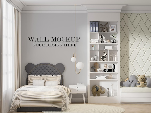 Wall mockup behind headboard ear shaped bed in 3d rendering
