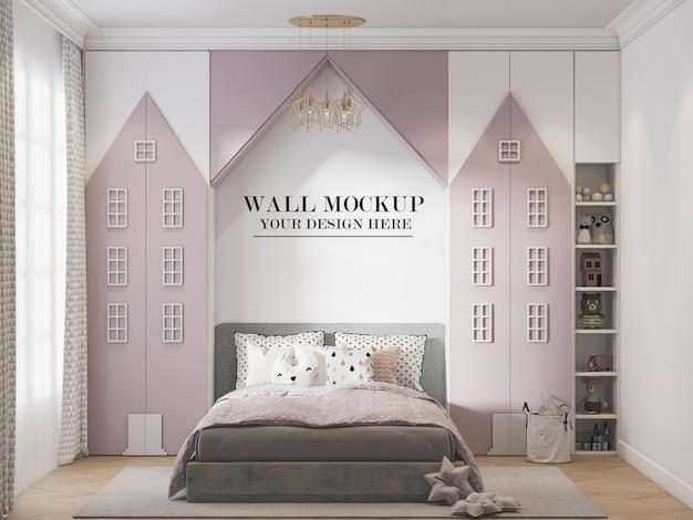 Wall mockup between house shaped closets