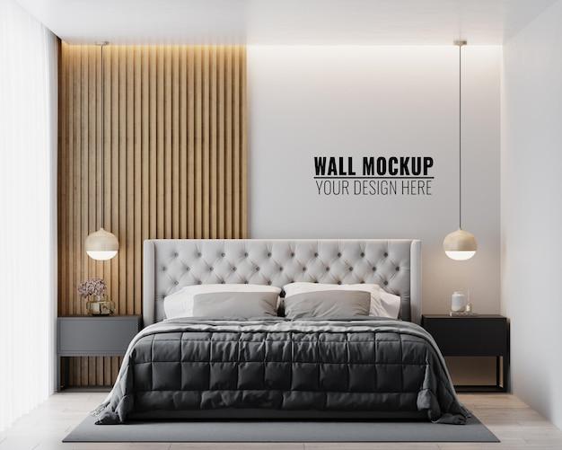 Макет стены в интерьере спальни Бесплатные Psd