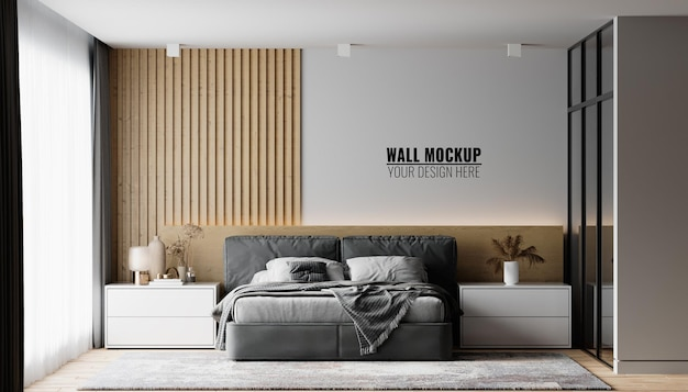Макет стены в интерьере спальни
