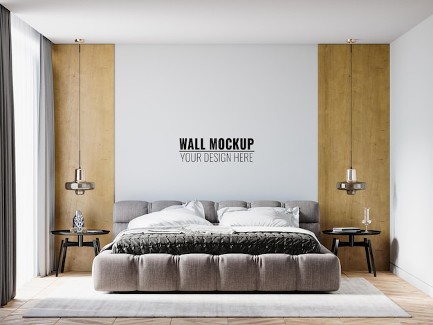 침실 인테리어의 벽 모형