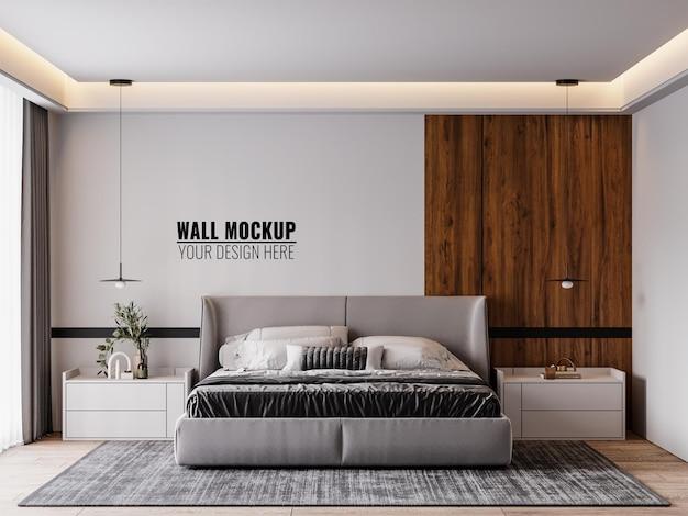 寝室のインテリアの壁のモックアップ