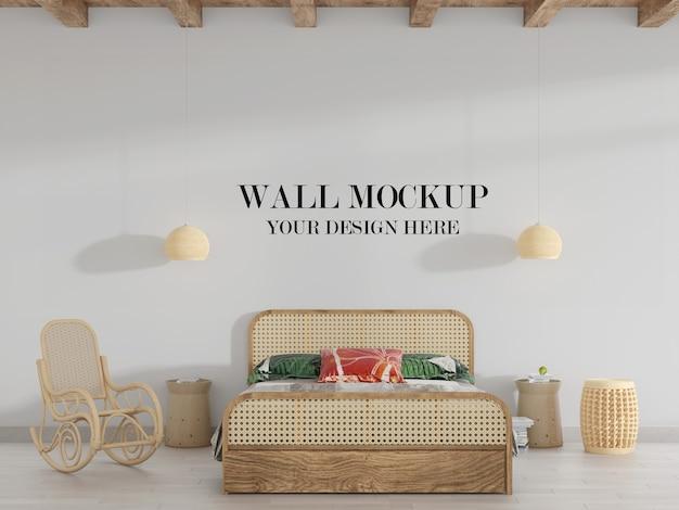 천연 등나무 가구가있는 침실의 벽 모형