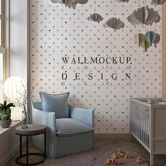 赤ちゃんの部屋のかわいいインテリアの壁のモックアップ