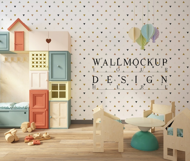 키즈 놀이방의 귀여운 인테리어에 벽 모형