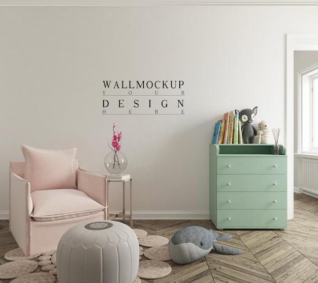 Макет стены в милом интерьере детской комнаты