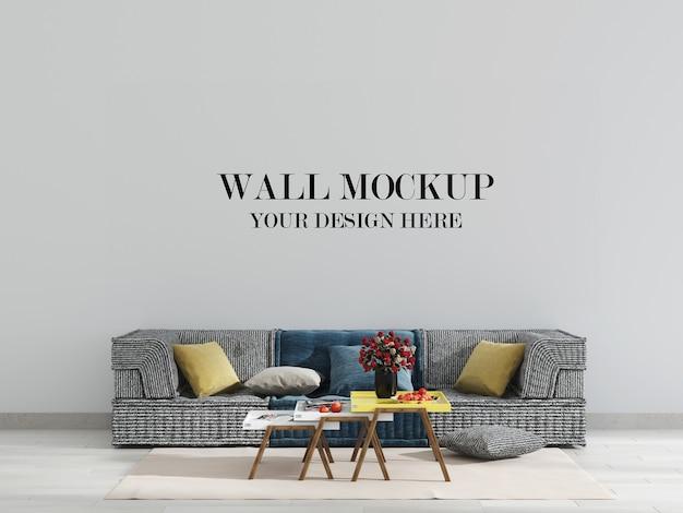 Макет стены в интерьере с тканевым диваном