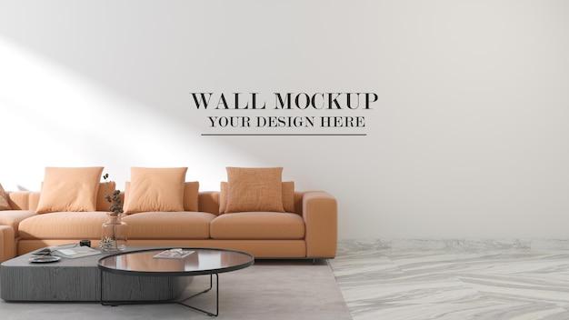 Макет стены в интерьере с современным оранжевым диваном