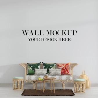 Макет стены в интерьере с плетеной мебелью из ротанга