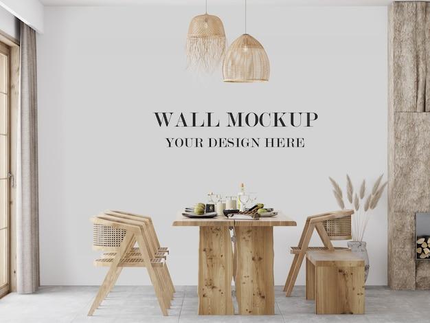 木製のテーブルセットとインテリアの壁のモックアップ
