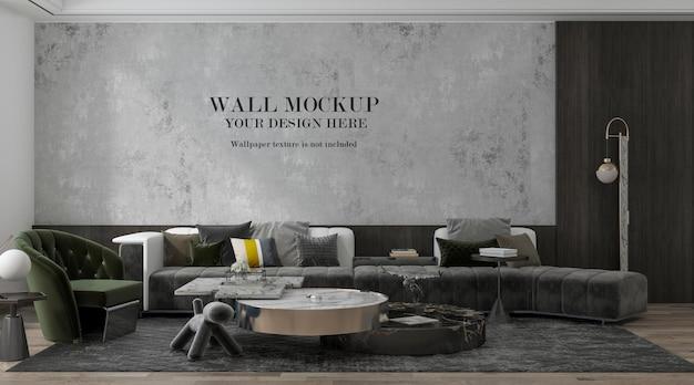 Макет стены в роскошной гостиной с большим диваном в интерьере