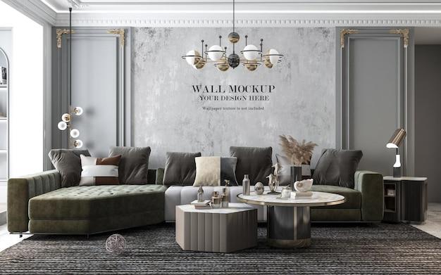 Макет стены в роскошной гостиной в неоклассическом стиле