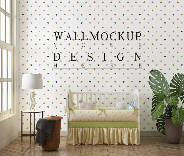 現代の赤ちゃんの寝室の壁のモックアップ