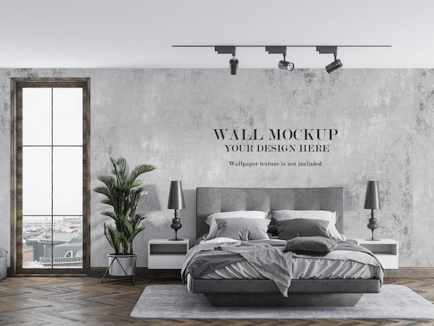 モダンなベッドルームの壁のモックアップ