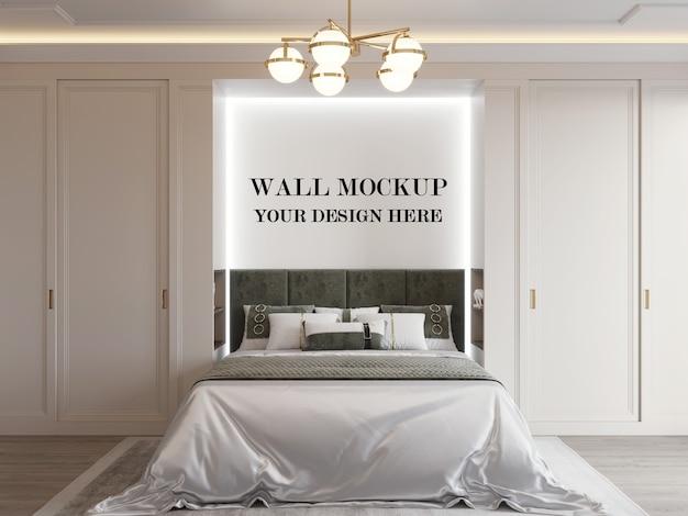 ミニマリストデザインのモダンな部屋の壁のモックアップ