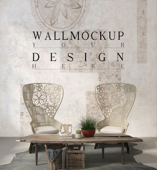 Настенный макет в современной белой гостиной с креслом и плантатором