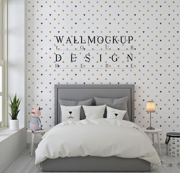 モノクロの子供の寝室の壁のモックアップ