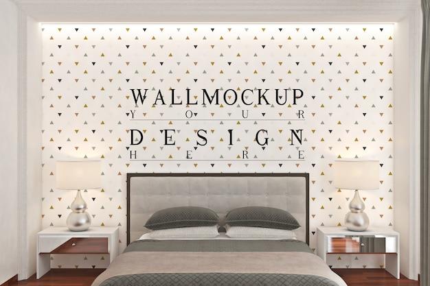 モノクロのモダンなベッドルームの壁のモックアップ