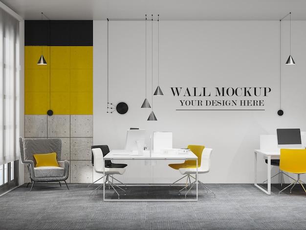 オープンスペースのオフィスルームの壁のモックアップ