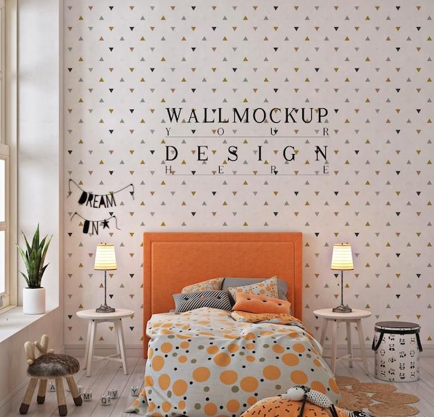 オレンジ色の子供の寝室の壁のモックアップ