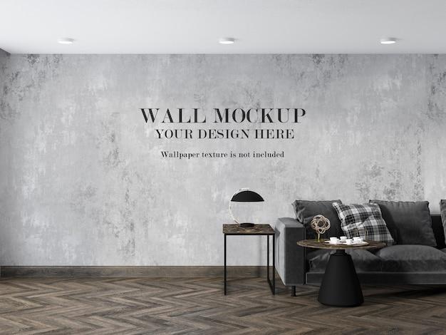 미니멀 한 가구가있는 쪽모이 세공 마루 거실의 벽 모형