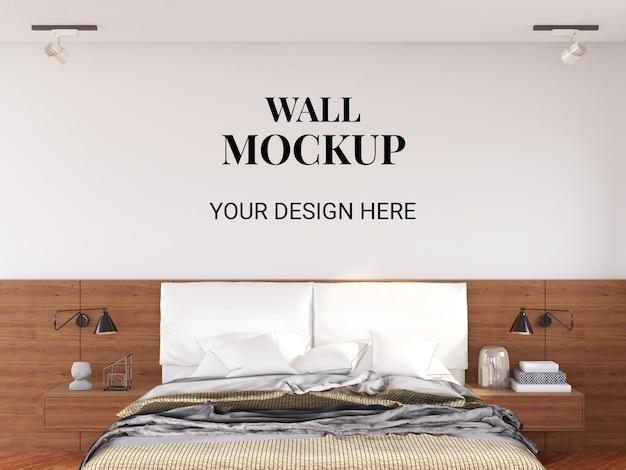 Мокап стены в интерьере современной спальни