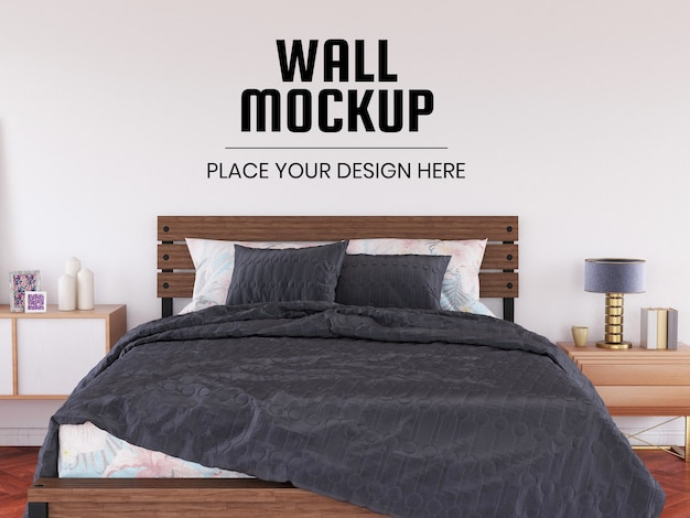 Мокап стены в винтажной спальне