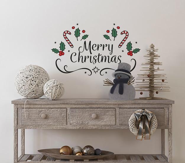 クリスマスツリーと装飾が施されたヴィンテージインテリアの壁のモックアップ