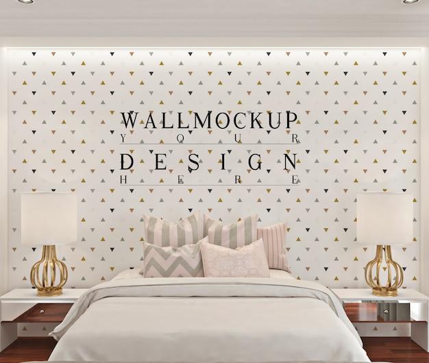 白いモダンなベッドルームの壁のモックアップ