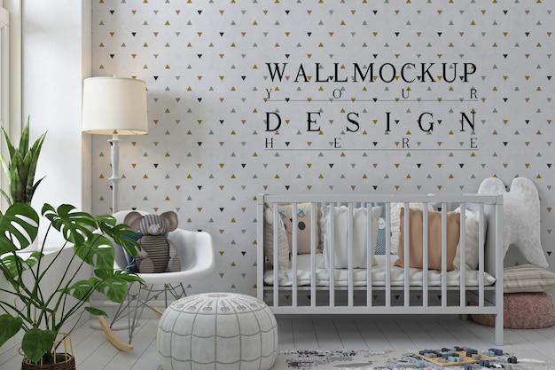Макет стены в белой пастельной детской комнате