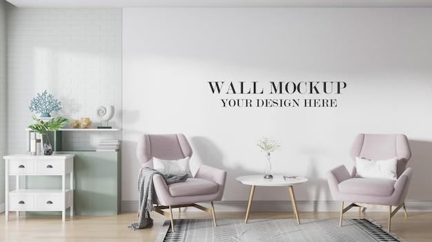 Wall mockup in interior designed in scandinavian style