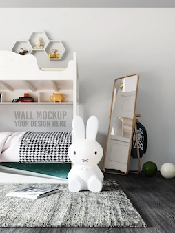 Wall mockup interior kids bedroom with decorations