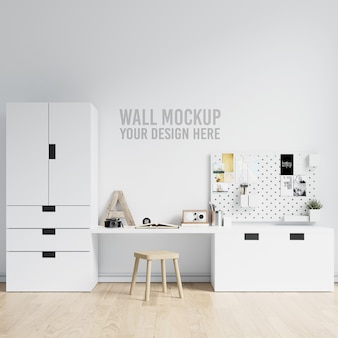 Wall mockup interior kids playroom with decorations