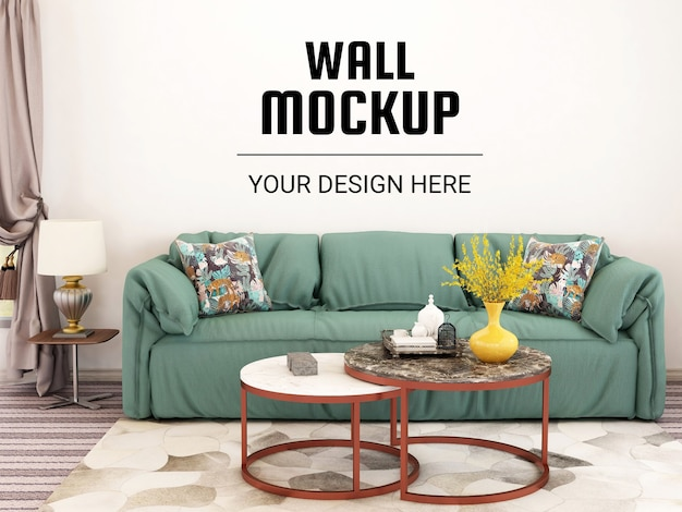 Wall mockup interior living room with sofa