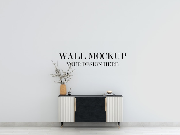 Wall mockup in interior with art deco sideboard