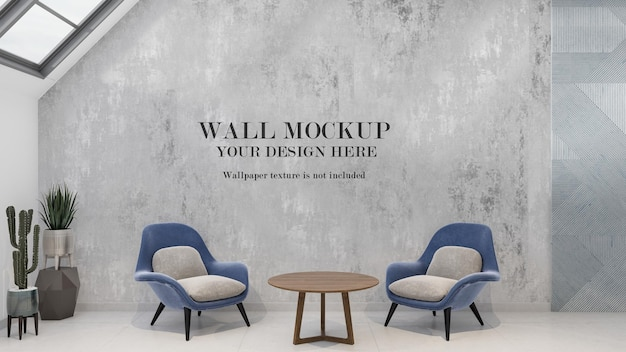Wall mockup in interior with blue armchairs and plants