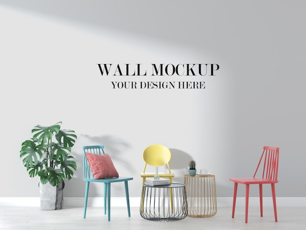 Wall mockup in interior with colorful furniture