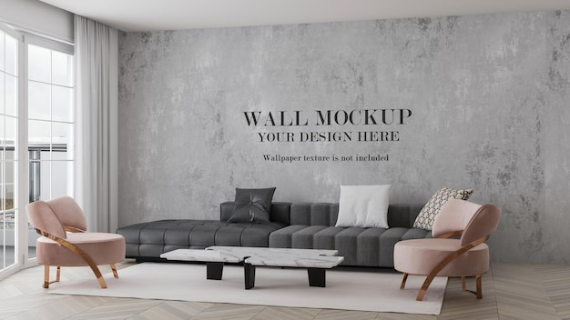 Wall mockup in interior with pink armchairs and grey sofa