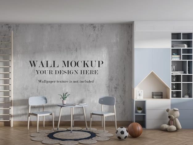 装飾が施された壁のモックアップキッズプレイルーム