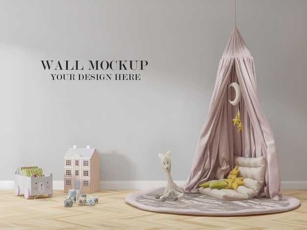 Wall mockup kids room decorated with toys and child tent