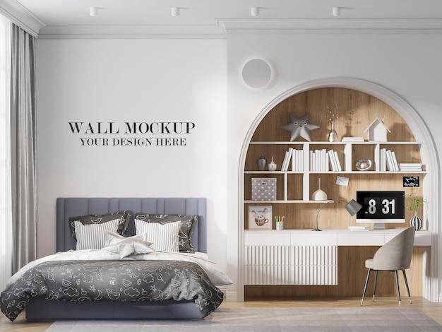 Wall mockup behind large bed