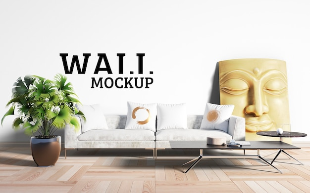 Wall mockup - the living room takes white as the mainstream