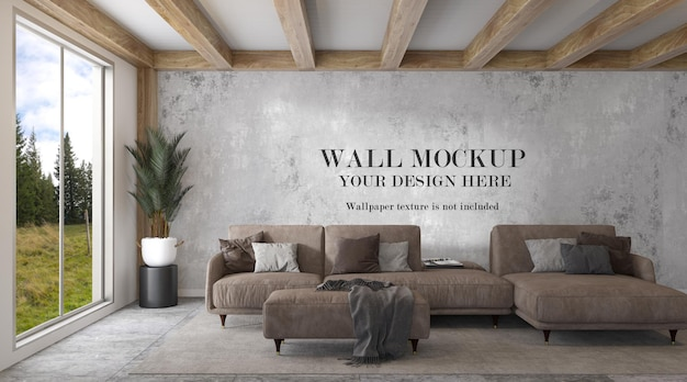 Wall mockup in living room with large window