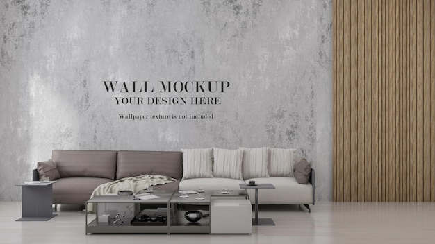 Wall mockup in loft style bedroom