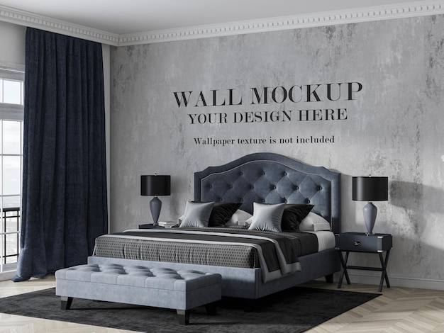 Wall mockup behind luxury navy blue bed